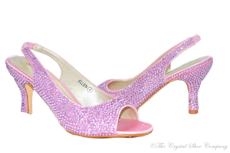c240957babaa Swarovski crystal Baby pink low heel peeptoe slingback sandal heel shoes by  TheCrystalShoeCo on Etsy https