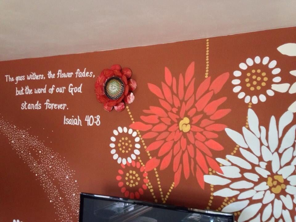 Full Wall Mural Painting Using An Opaque Projector And Design From A Thank  You Card.