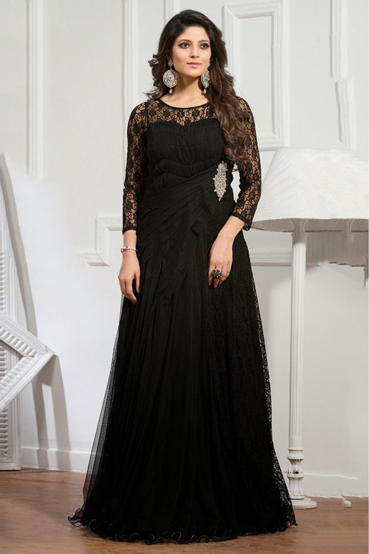 Net Semi Stitched Party Wear Gown In Black Colour