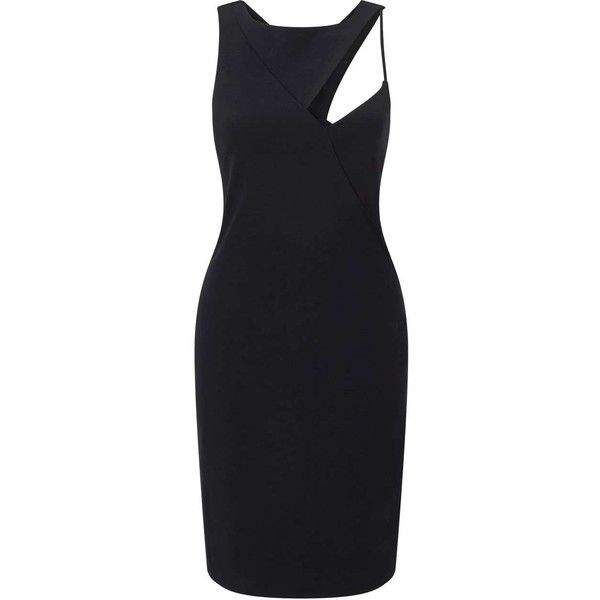 Miss Selfridge Cut-Out Asymmetric Bodycon Dress (480 SEK) ❤ liked on Polyvore featuring dresses, black, mini dress, short bodycon dresses, asymmetrical dresses, cut out bodycon dress and asymmetrical cocktail dress