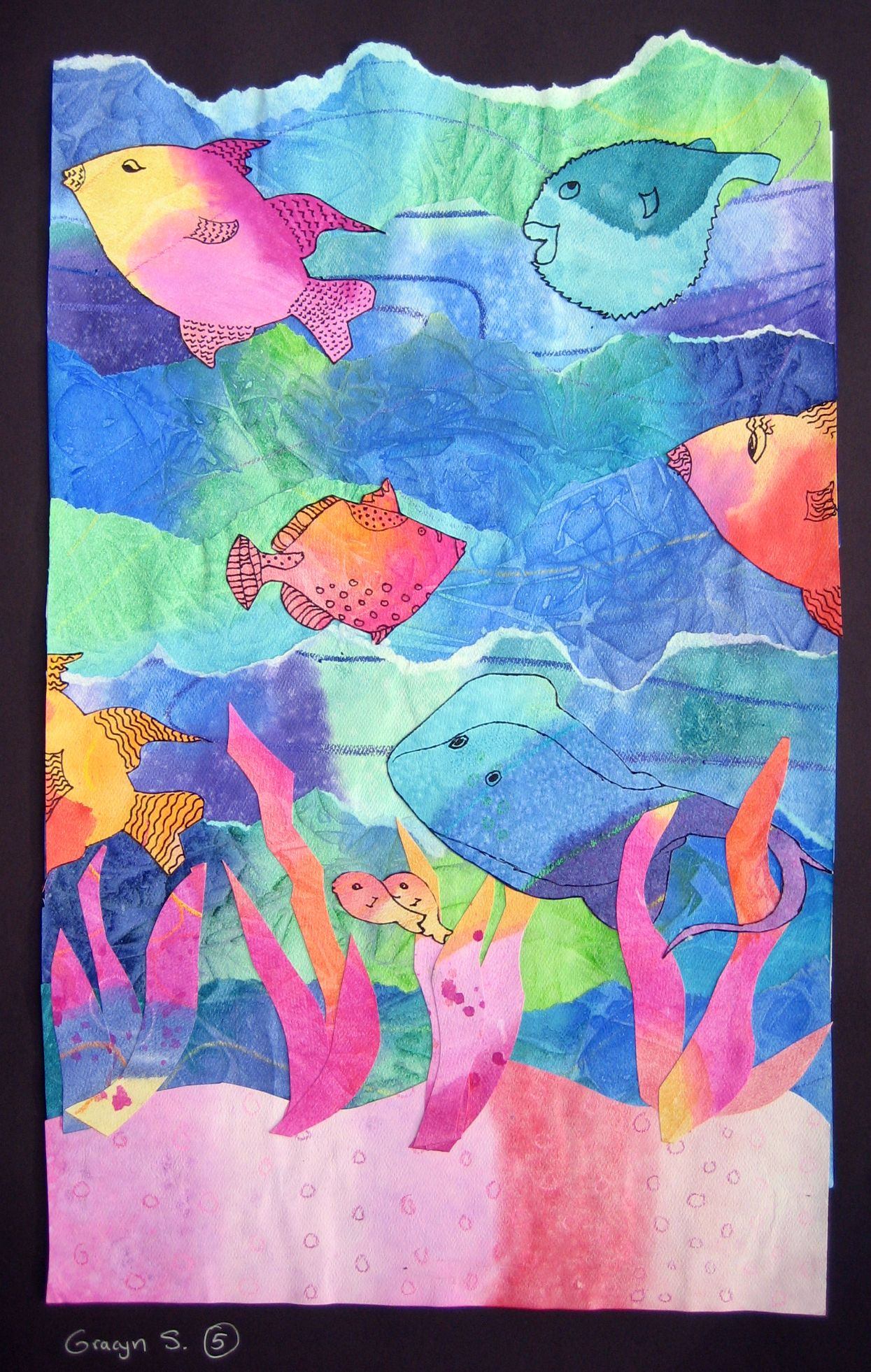 Watercolor Seascape Collages Elementary Art Art Classroom Art