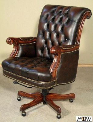 hooker upholstered tufted brown top grain leather executive office