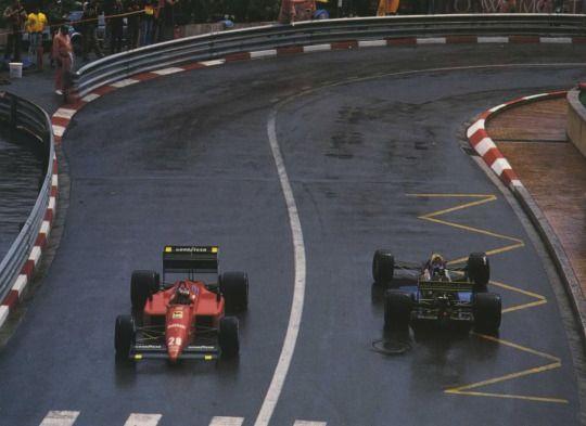 Gerhard Berger, Ferrari F1/87/88C & Andrea De Cesaris, Rial ARC1, 1988 Monaco GP