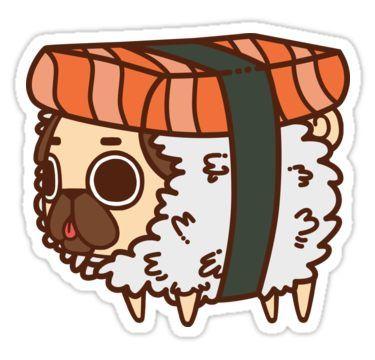 Puglie Sushi Sticker by Puglie  Pug