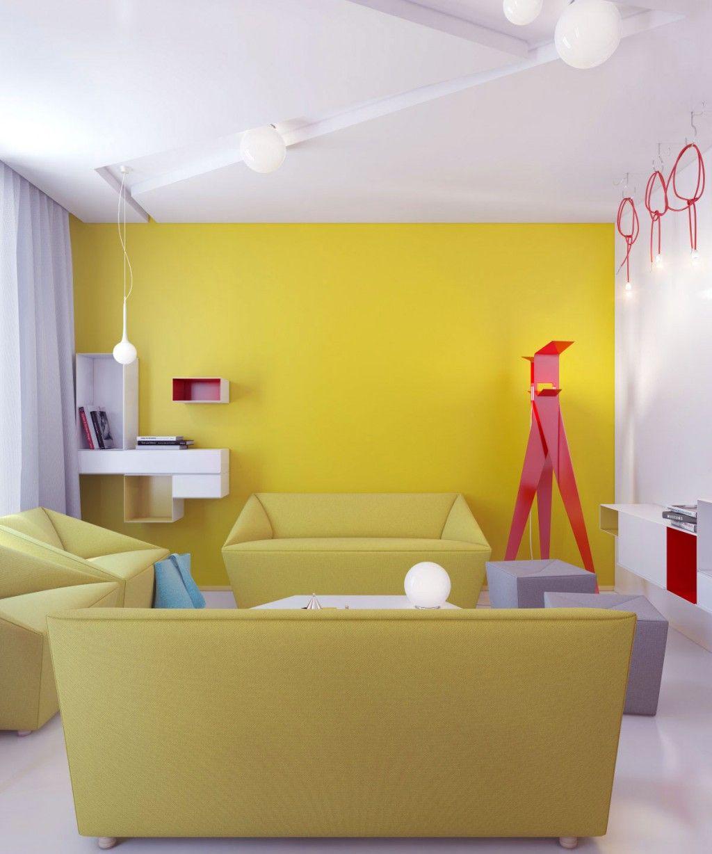 Decoración de salón minimal moderna en amarillo. | Ideas salones ...