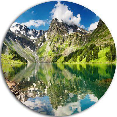 "DesignArt 'Reflecting Mountain Lake' Photographic Print on Metal Size: 11"" H x 11"" W x 1"" D"