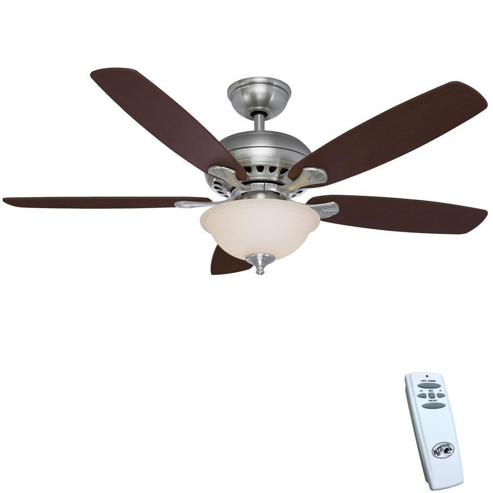 Hampton Bay Southwind 52 In Led Indoor Brushed Nickel Ceiling Fan With Light Kit And Remote Control Ceiling Fan Brushed Nickel Ceiling Fan Industrial Ceiling Fan