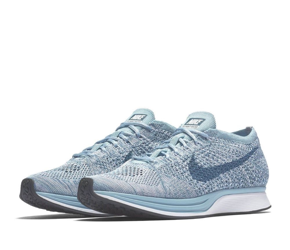 9c1cb9edf509 Nike Flyknit Racer Mens Running Shoes 10.5 White Legion Blue Mica  Nike   RunningShoes