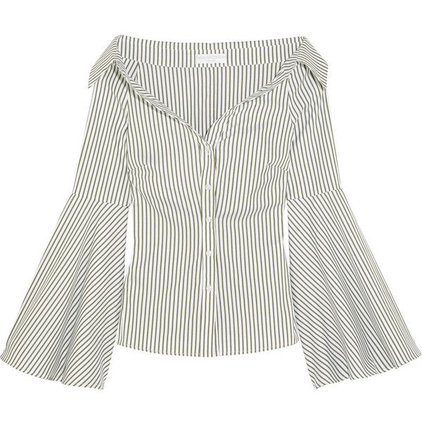bcdd22b62d52a4 Caroline Constas Persephone off-the-shoulder striped cotton-poplin...  ( 485) ❤ liked on Polyvore featuring tops