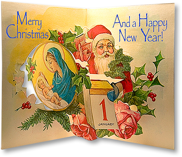 Christmas 1950 S Greek Pop Up Christmas Card A Free Download From