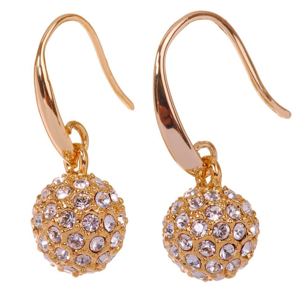 Swarovski Elements Crystal Ball Earrings 18k Gold Plated New 7153x Jewelry Watches Fashion