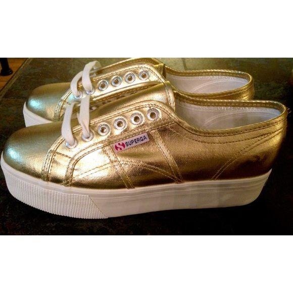 Superga• 2790 Gold Platform Sneakers