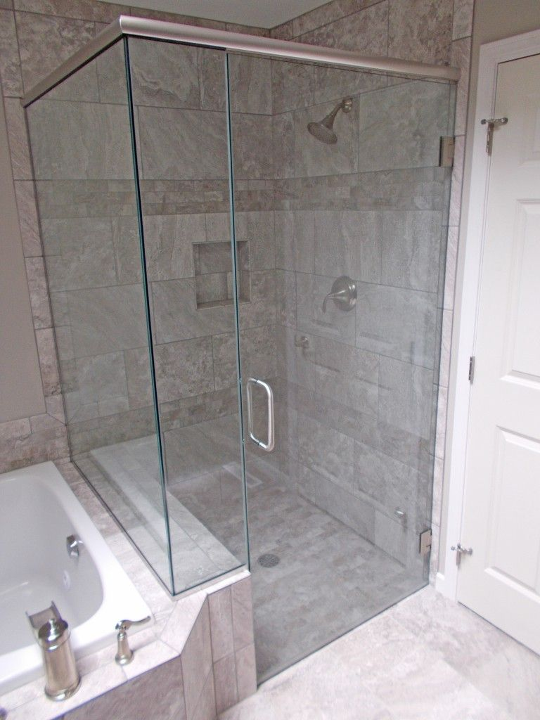 Gray Tiled Shower, Clear Glass Shower Door with Brushed Nickel ...