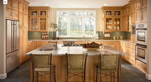 Same Layout Idea U Shaped Kitchen With Island Not As Big Of A Window But In Center Of Kitche Kraftmaid Kitchen Cabinets Kitchen Layout Kitchen Cabinet Design