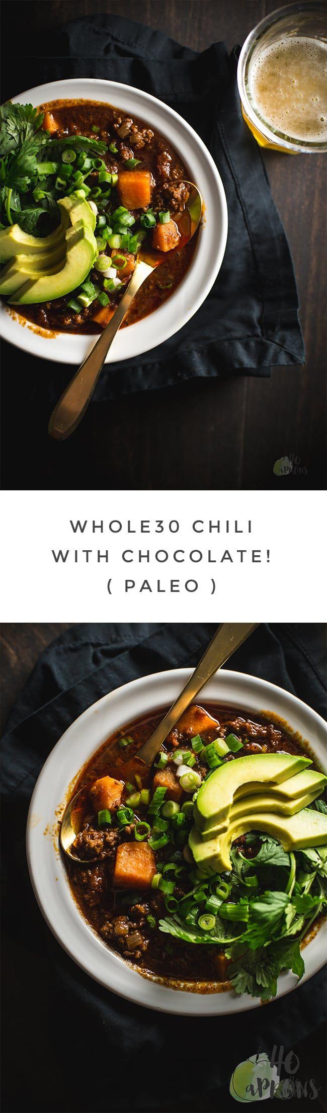 Whole30 Chili (with Chocolate!) - Paleo // 40 Aprons