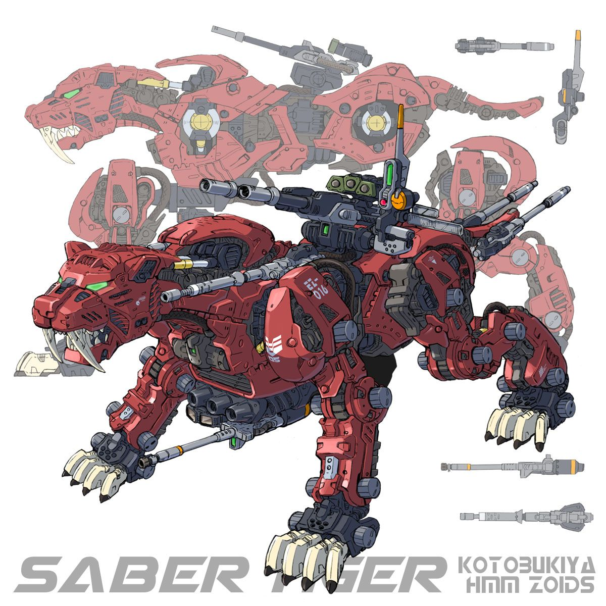 Kotobukiya Highend Master Model: Saber Tiger instruction booklet illustration