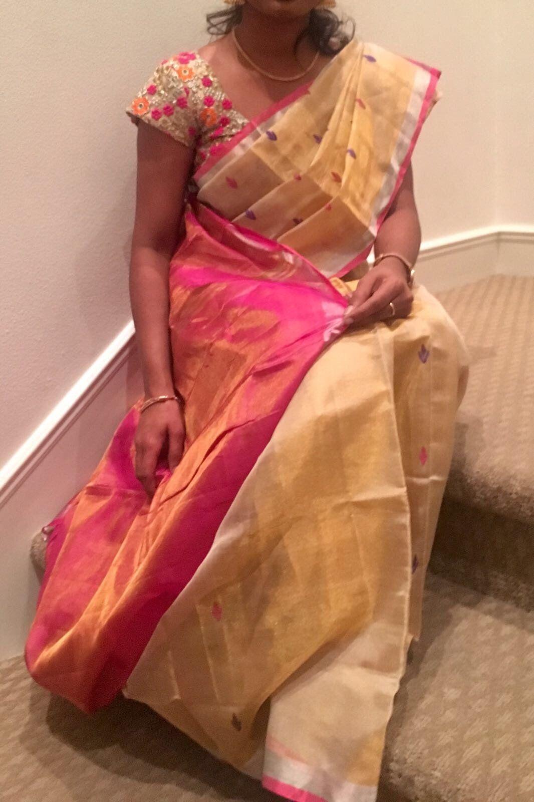 Tissue silk saree cream with pink full tissue uppada silk saree  silk sarees and products
