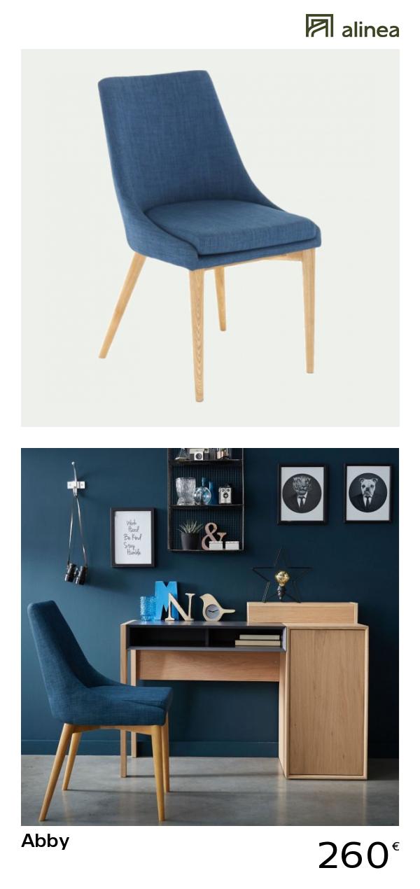 Chaise En Tissu Bleu Pietement Bois Abby Chaise Chaise Salle A Manger Table A Manger En Chene Meuble Deco