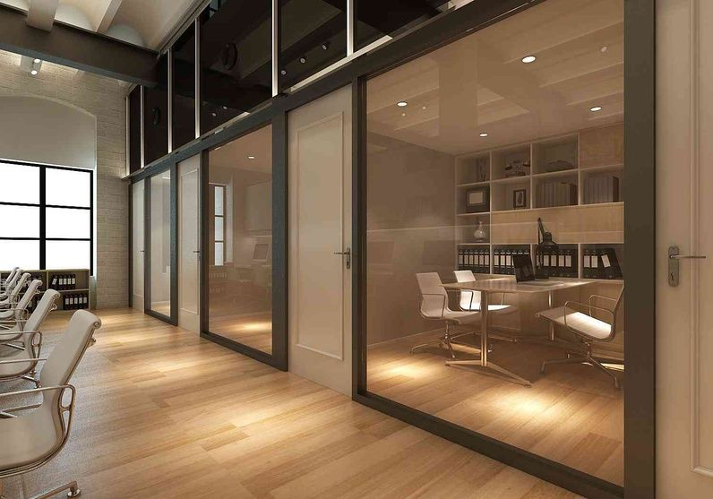 Cabins with glass partition and wooden flooring being - Wooden glass partition design ...