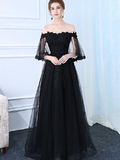 79ee243459 Suitable Prom Dresses Long, 2018 A-line Princess Straight Neck Half Sleeve  Floor Length Prom Dresses