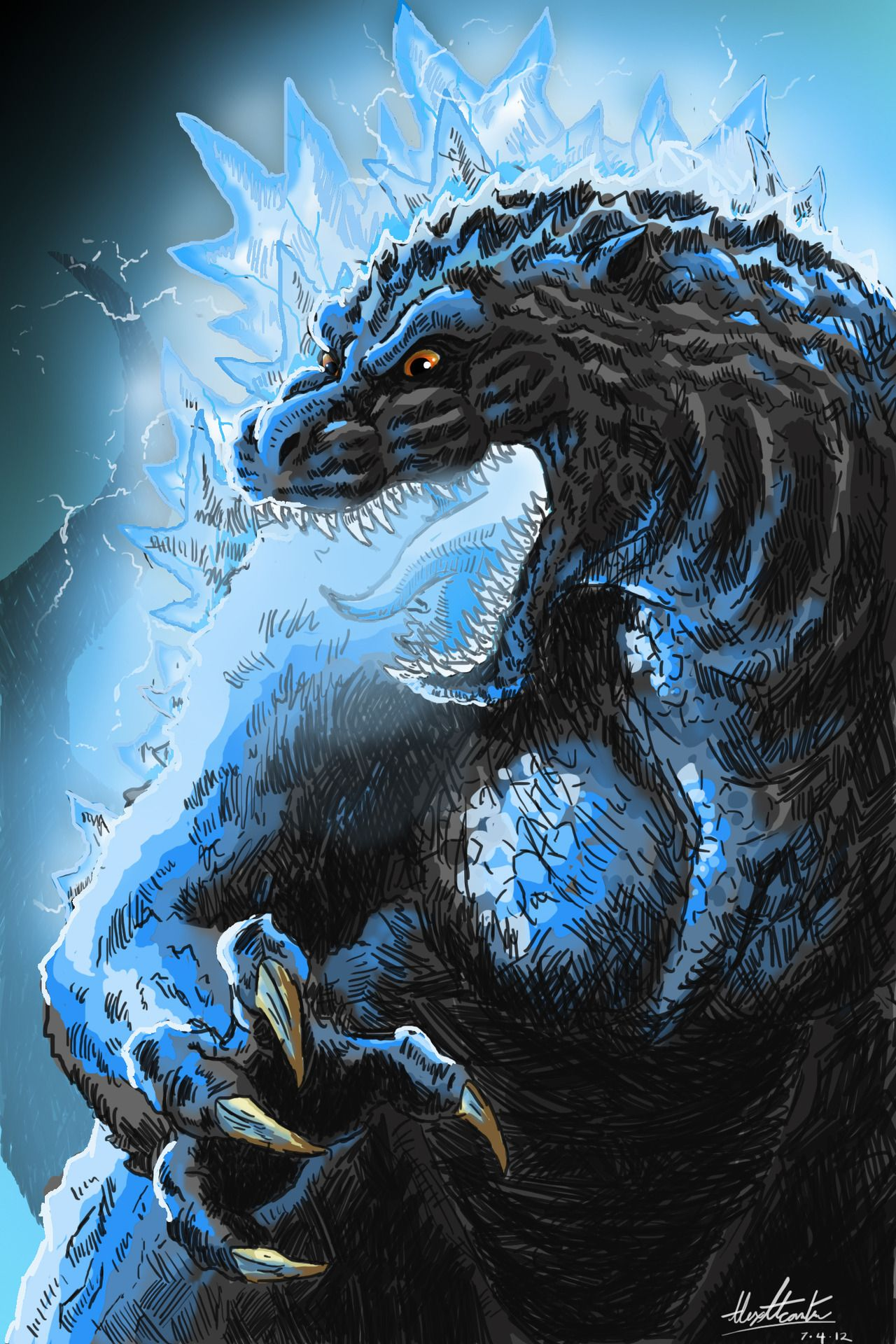 So A While Back I Did Digital Ink Drawing Of Godzilla Returns In Color