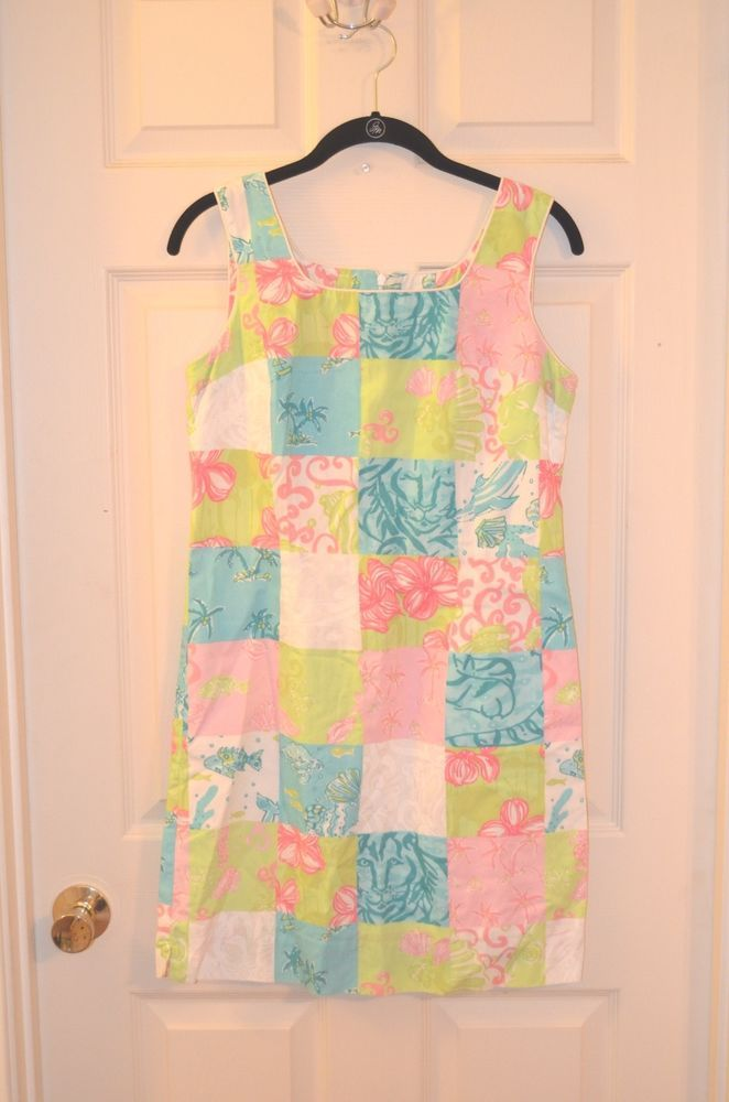 VINTAGE! Lilly Pulitzer Multi Color Patchwork Print Shift Dress-Size 6-EUC #LillyPulitzer #Shift #Casual