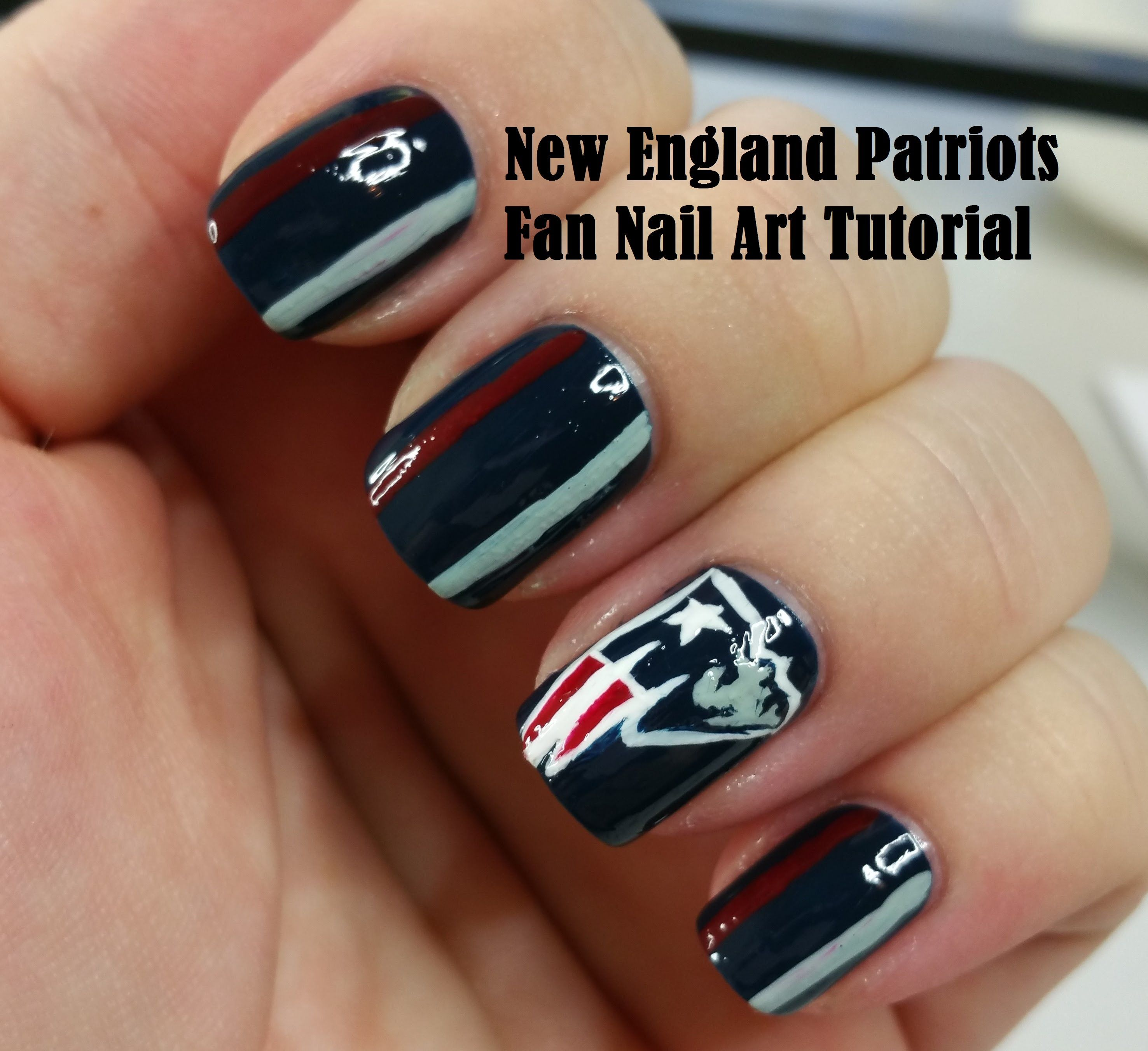 New England Patriots Fan Nail Art Tutorial Patriotic Nails Design Patriots Nail Art Fan Nails