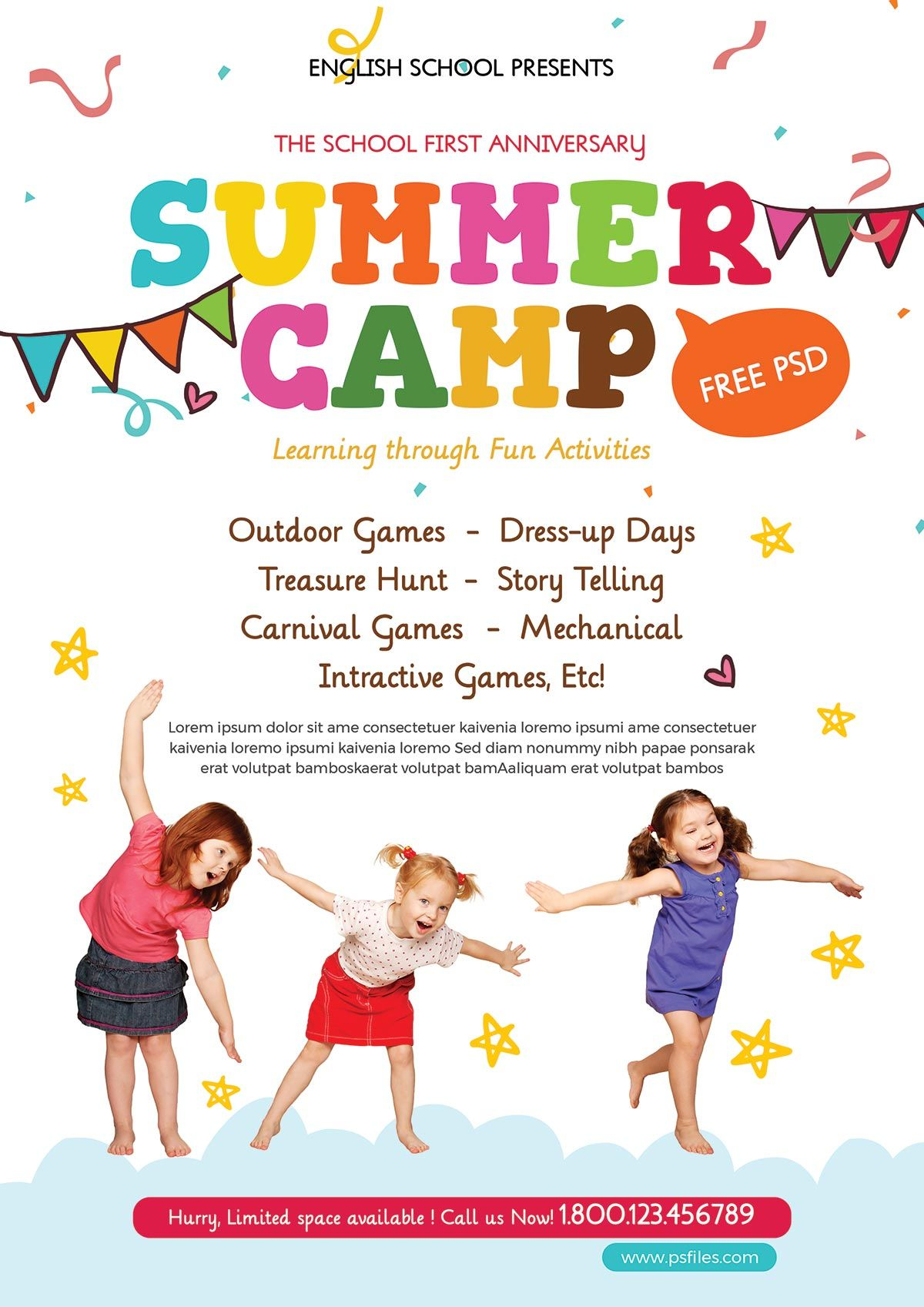 Free Kids Summer Camp Psd Flyer For Pre Schools Summer Camps For Kids Free Brochure Template Free Psd Flyer Templates