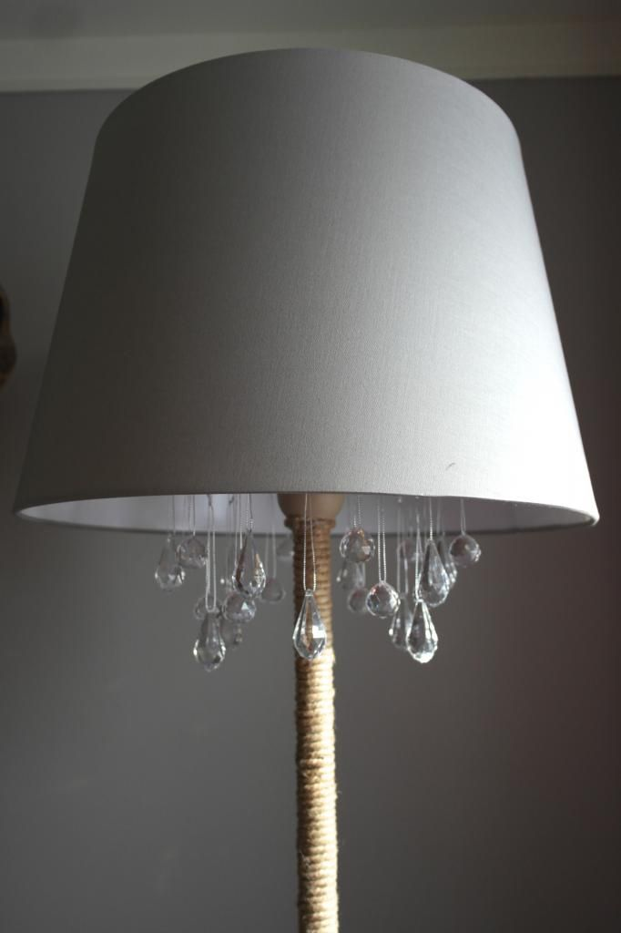 DIY chandelier lamp | home craft @sypsied - so doing this, hanging the crystals at different heights (see https://www.pinterest.com/pin/444378688203709245/ )