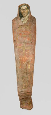 Egyptian, Roman period (95-100 B.C.). Mummy of Demetrios. Painted cloth, gold, human remains, wood, encaustic and gilding. 34 x 39 x 190 cm (13.3 x 15.4 x 74.8 in.).