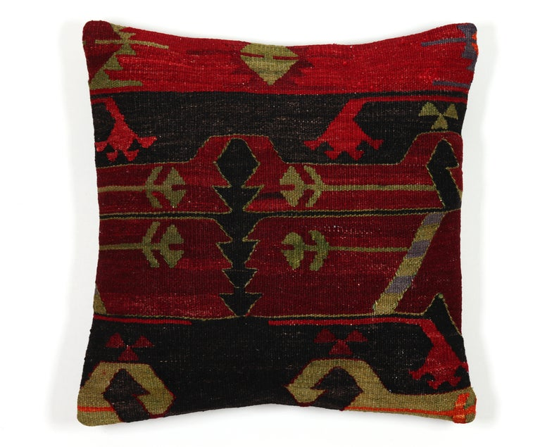 Kilim pillow 18x18 case 45x45 cover wine dark red green black throw accent moroccan turkishethnic anatolian couch sofa seat cushion cover