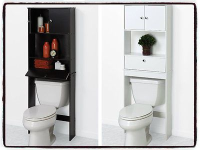 Over The Toilet Bathroom Storage Cabinet Shelf Space Furniture Drop Door New