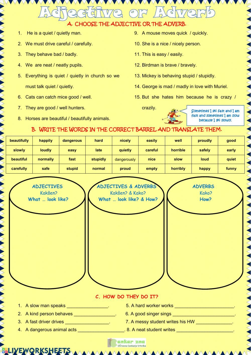 Adjective Or Adverb Interactive Worksheet Adverbs Worksheet Adjectives Adverbs
