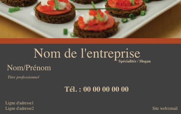 Modele De Carte De Visite Professionnelle Et Personnalisable En Ligne Pour Service Traiteur Gastronomique A Com Gastronomie Carte De Visite Cuisine Restaurant