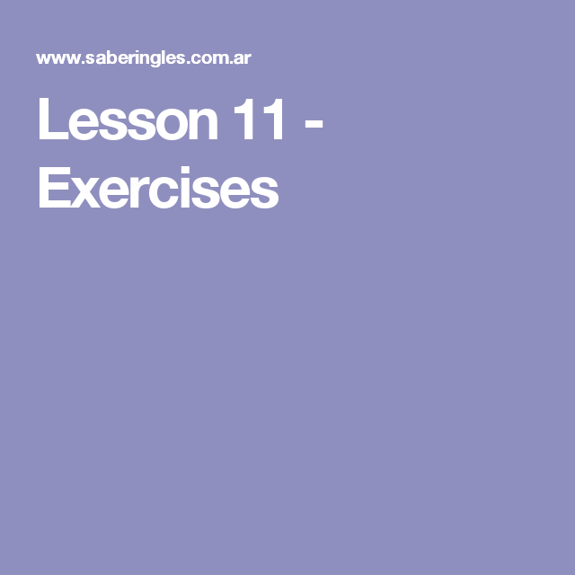 Lesson 11 - Exercises