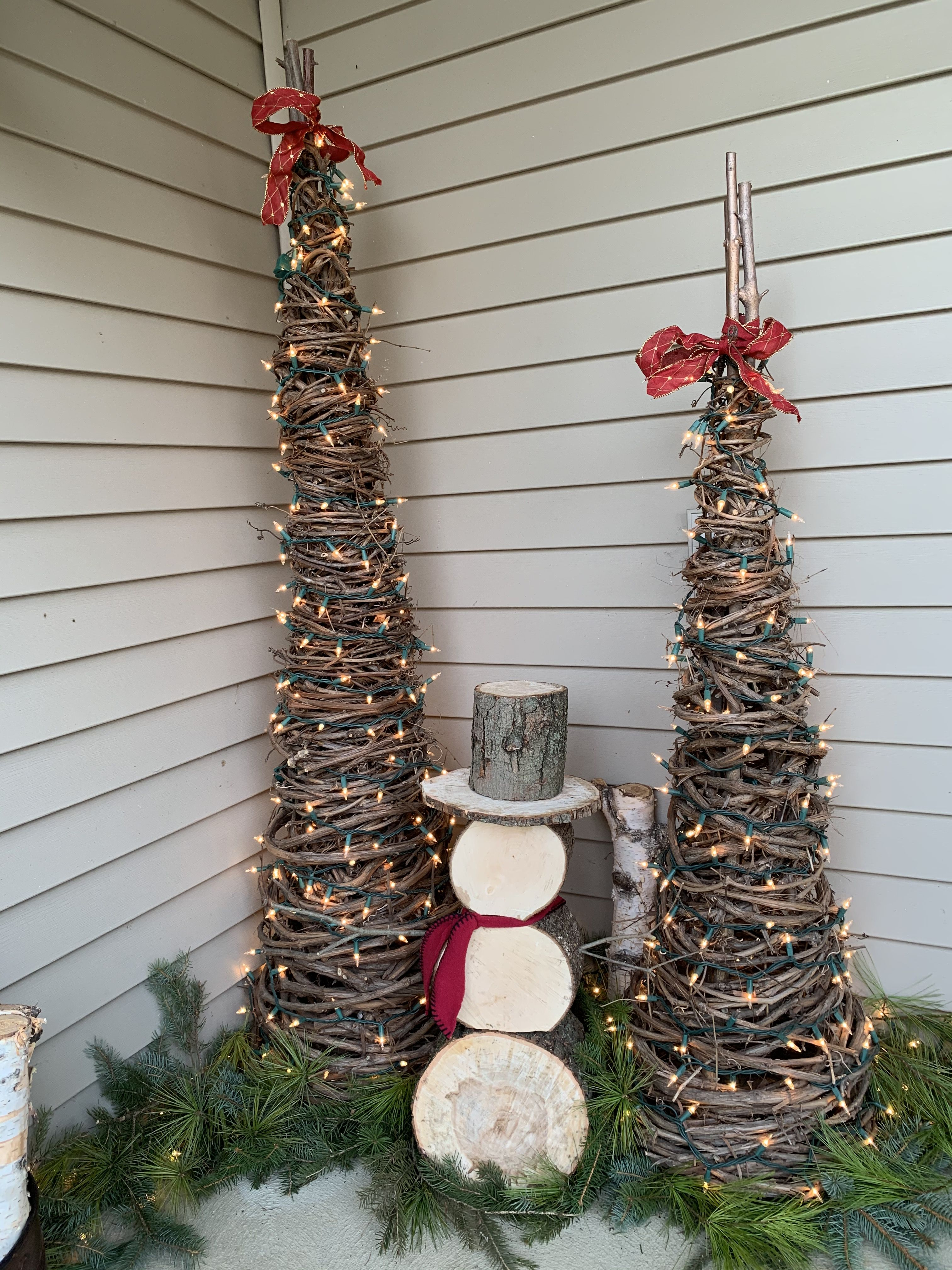 Pin By Monica Offman On Christmas Porch Christmas Porch Ladder Decor Decor