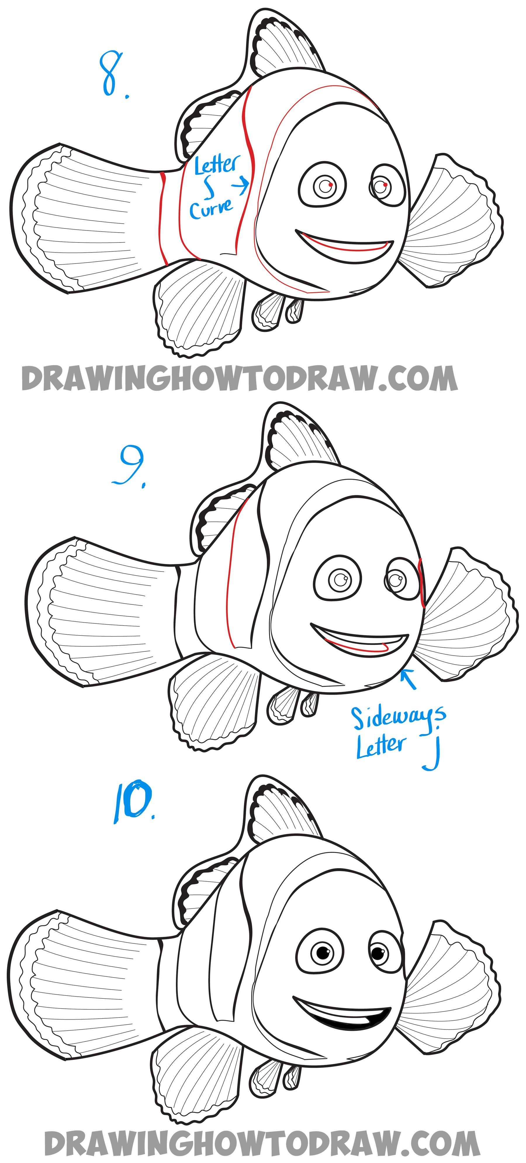 How To Draw Marlin From Finding Dory And Finding Nemo Easy