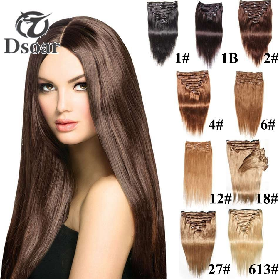 Full Head Women Clip in 100% Real Soft Human Hair Extensions 18-24 inch  Straight  Dsoar  StraightBundle 6ebf7d6a16