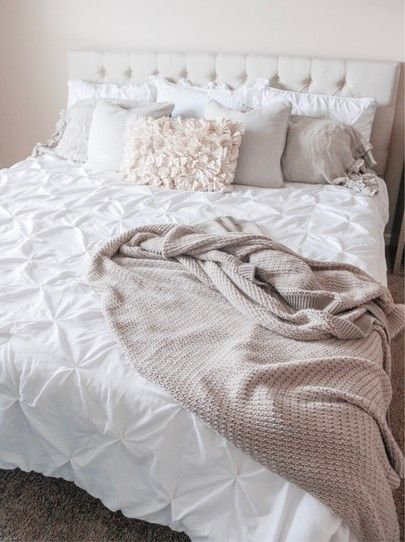 Modern Farmhouse Bed From Wayfair With Neutral Colors And