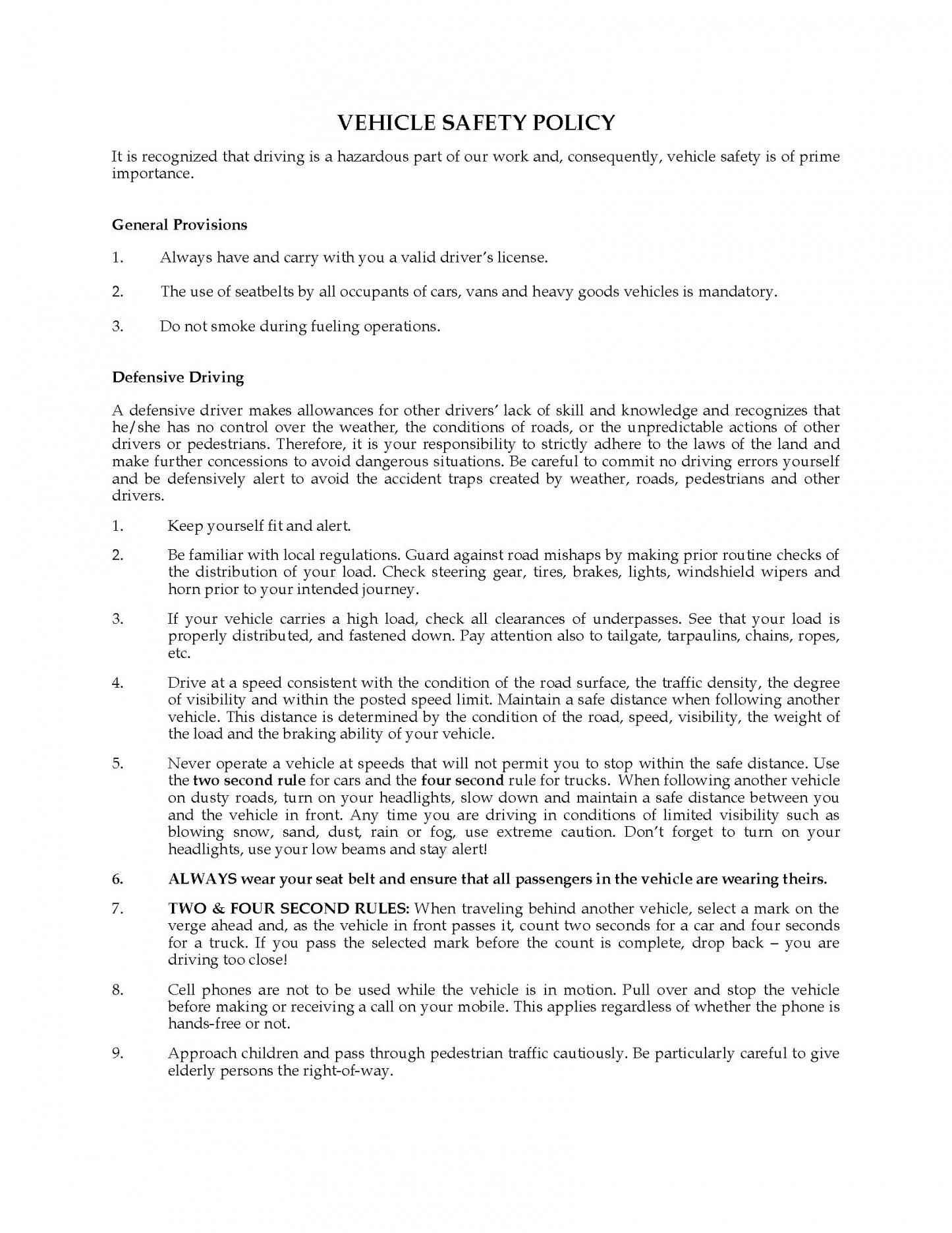 Professional Company Vehicle Policy Template Example In 2021 Policy Template Startup Company Policies Trucking company safety policy template