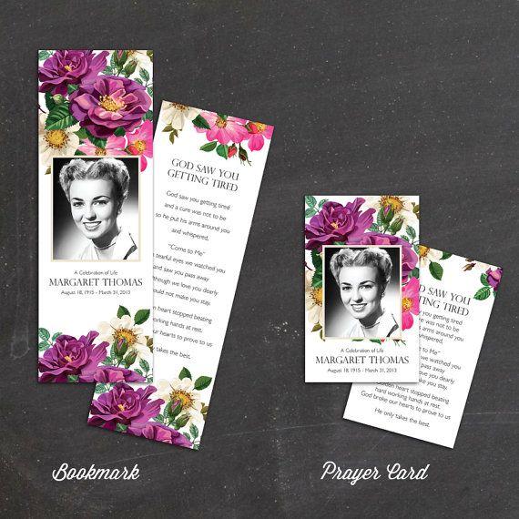 spring flowers prayer card memorial card funeral card