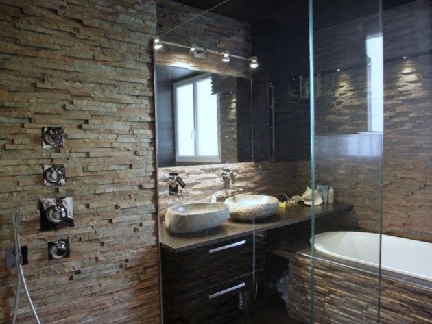 douche avec mur en pierre naturelle bathroom mur en. Black Bedroom Furniture Sets. Home Design Ideas