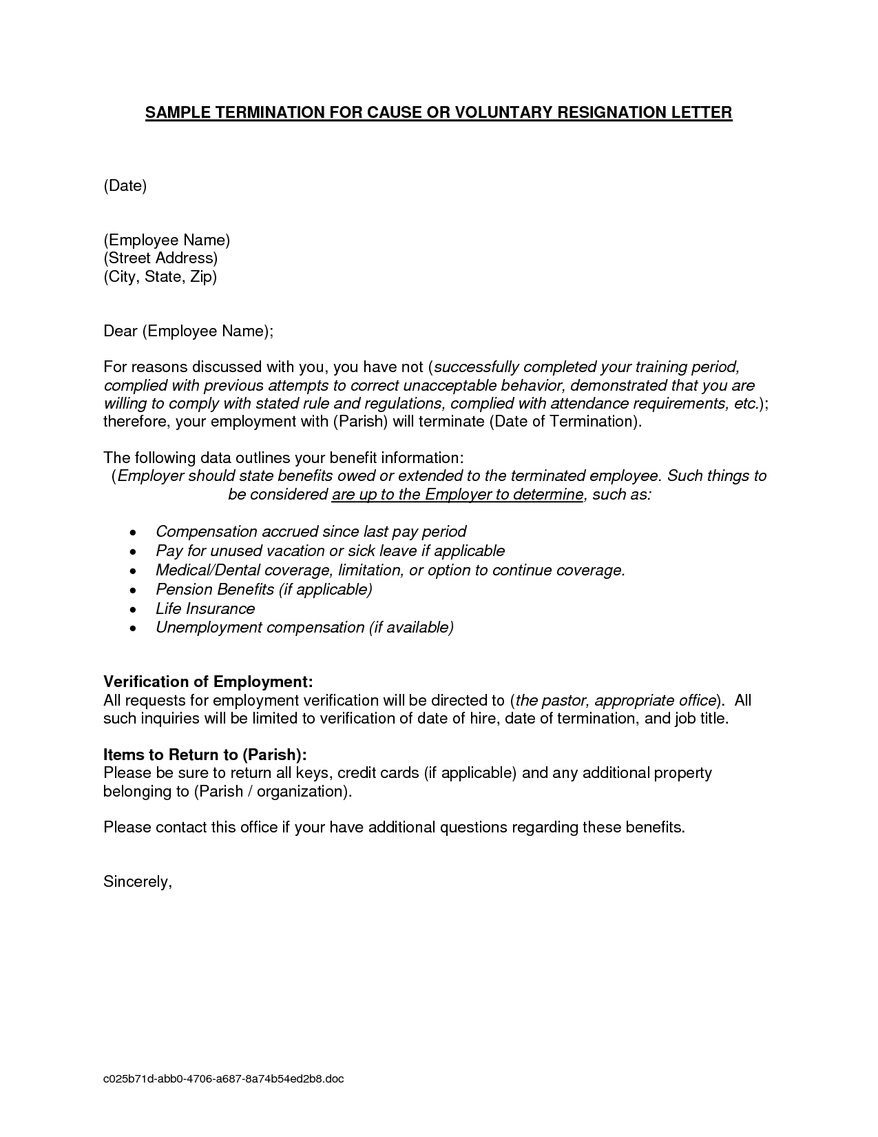 Termination Letter Sample Employment And Job Resigning Format