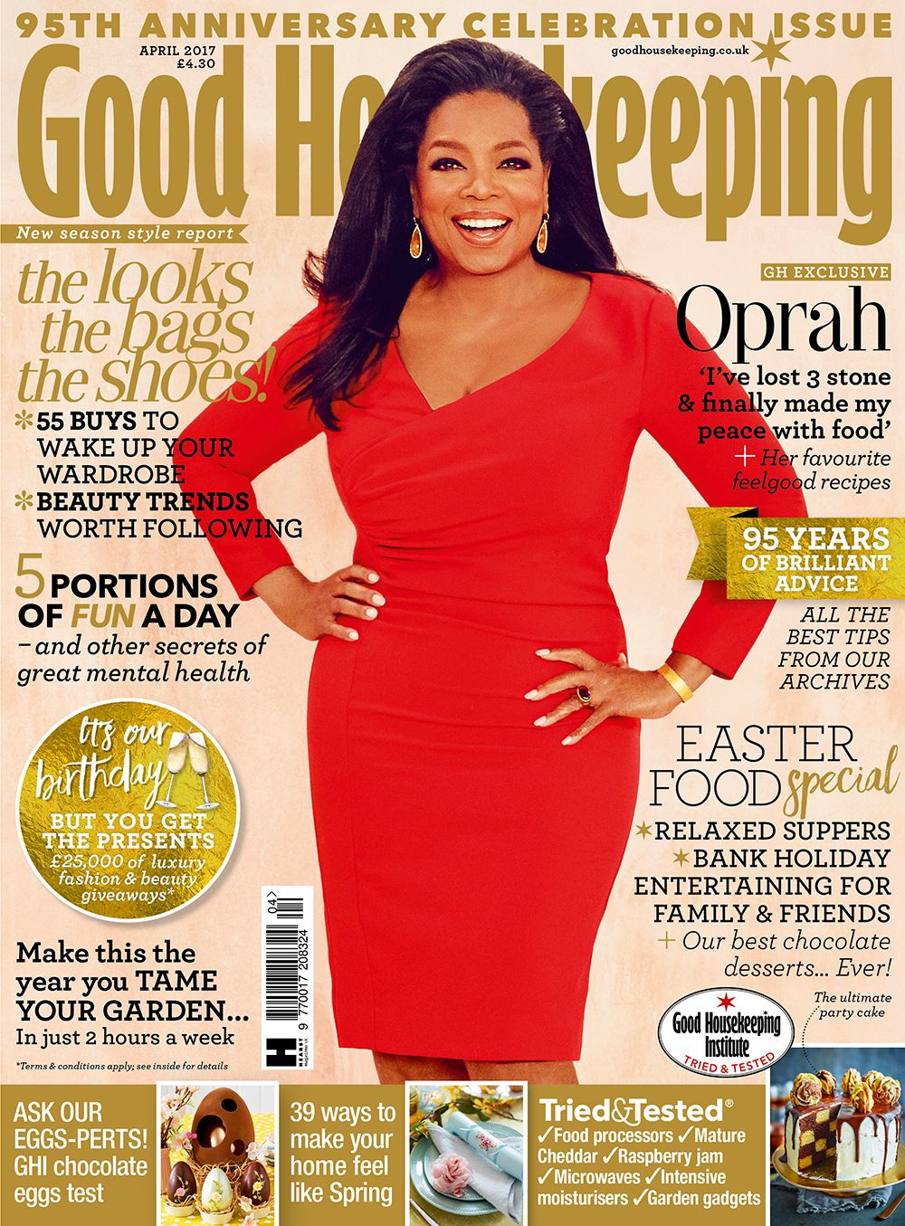 Good Housekeeping magazine, April 2017. The perfect Mother's Day gift for a Mum who needs to put her feet up! Featuring the gorgeous Oprah Winfrey.