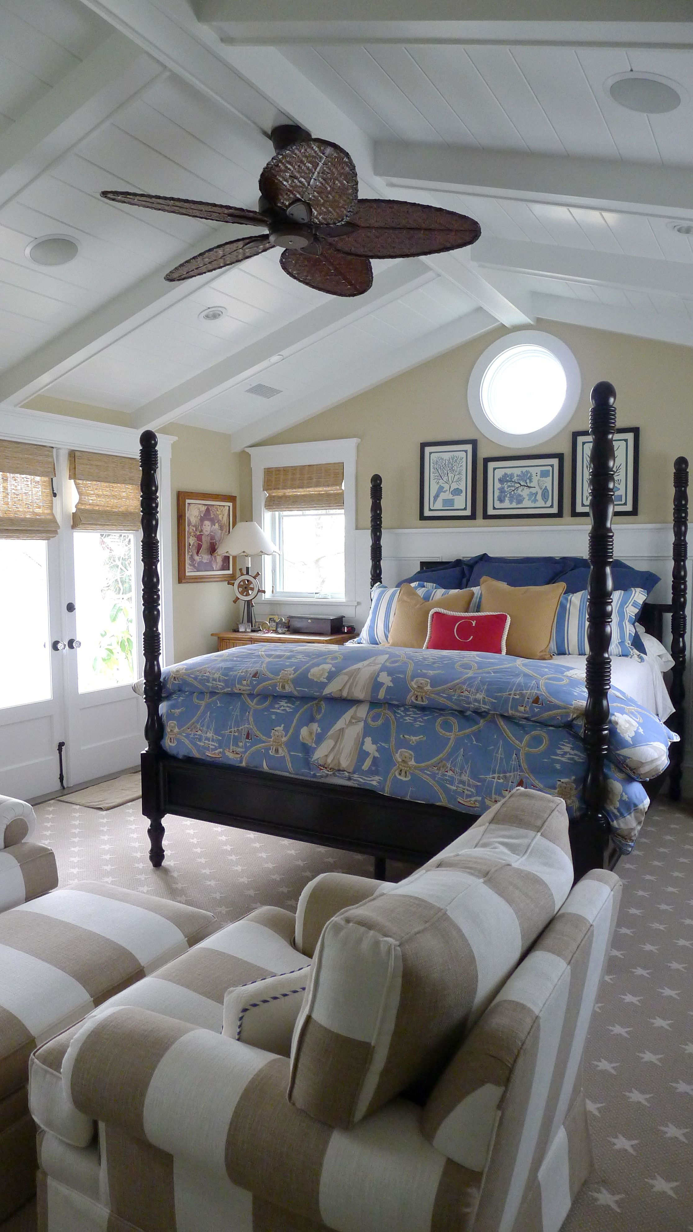Fabiana Traditional Poster Canopy Leather Bedroom Set W: Master Bedroom In A Newport Beach Coastal Home. Designed