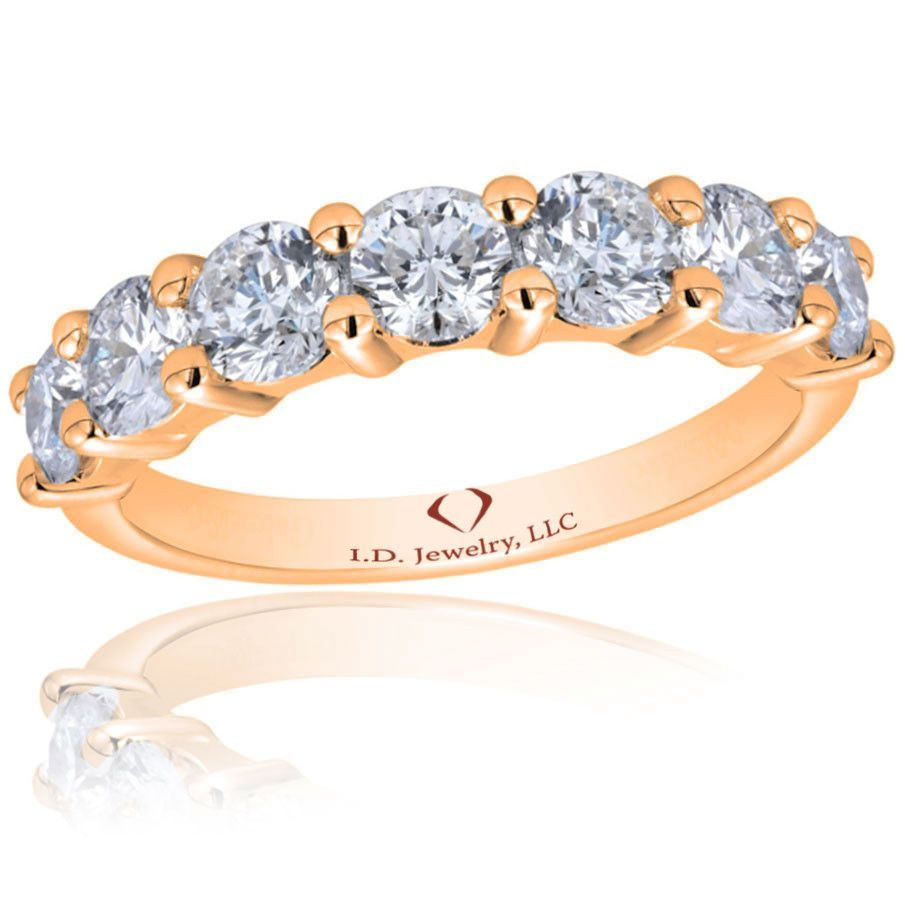 1.75 ct F-G SI1-SI2 7 Stone Common Prong Diamond Band In 14K Rose Gold W3645-R-IADD