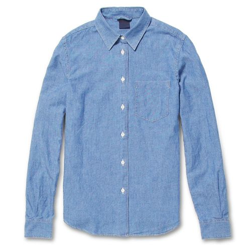 Man-Cut Indigo Chambray Shirt. via The Cools