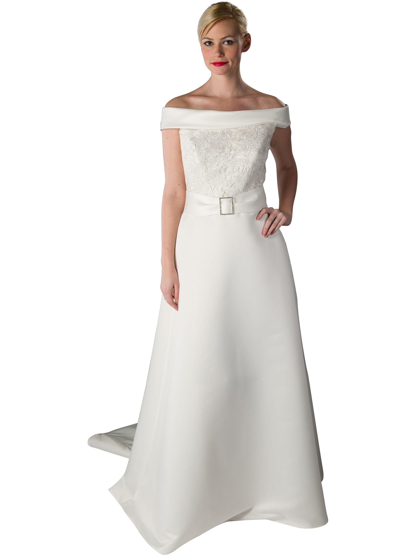Brautkleid - Satin mit Spitze - ivory Klassisches Brautkleid aus ...