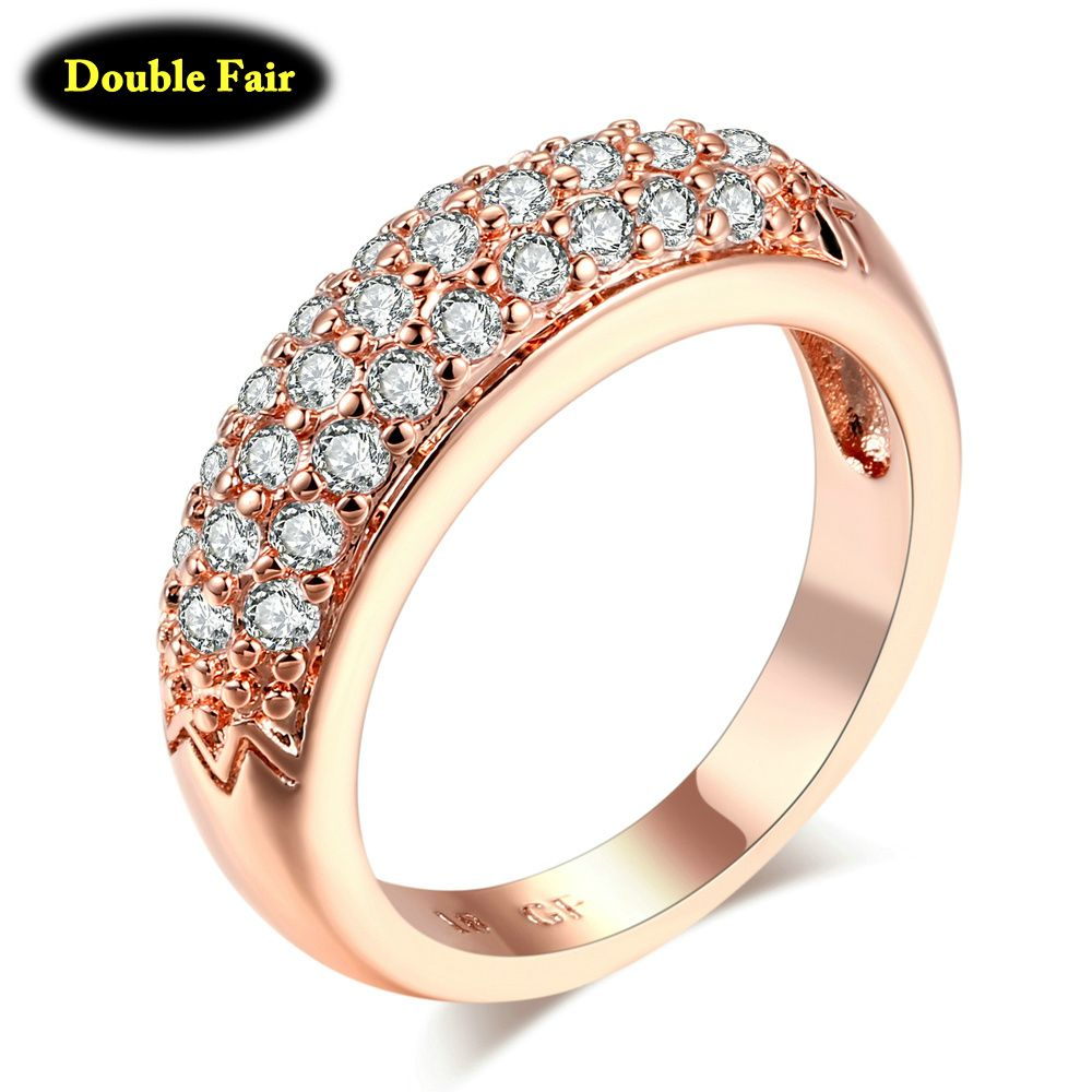 c4fcb4d56295 Cubic Zirconia Micro Pave Engagement Rings For Women Rose Gold Silver Color  Crystal Fashion Wedding