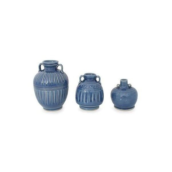 NOVICA Celadon Ceramic Blue Vases (Set of 3) ($69) ❤ liked on Polyvore featuring home, home decor, vases, blue, celadon vases, home accessories, celadon vase, ceramic home decor, set of three vases and crackle vase
